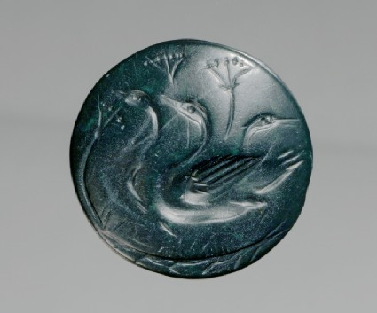 Seal depicting three water-fowls swimming amongst papyrus also known as Nilotic scene