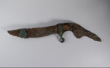 Iron single-edged knife with remains of wooden sheath and bronze fittings