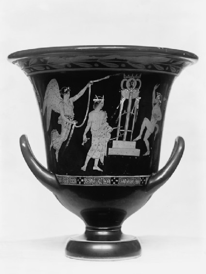 Attic red-figure pottery krater depicting a music contest