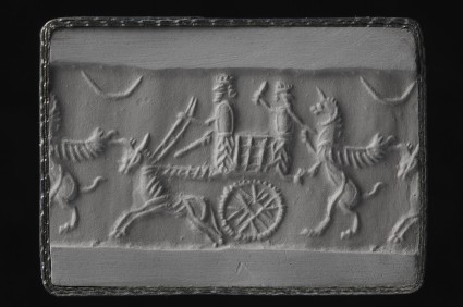 Cylinder seal with ox-drawn chariot scene