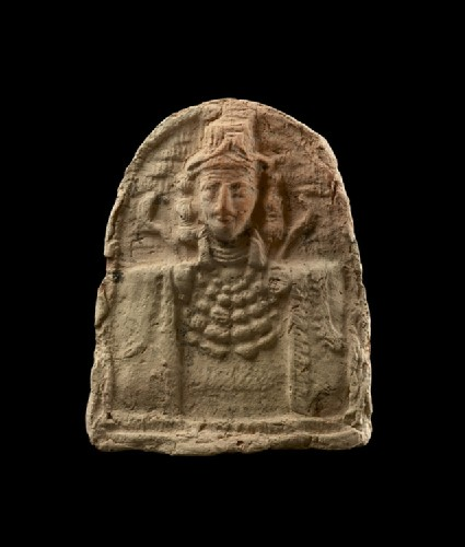 Semi-circular plaque of female bust, the goddess Ishtar