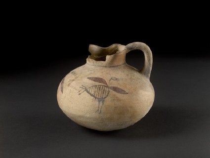 Bichrome free-field style depressed globular juglet with 3 water birds, and a pinched mouth, Amathousian style