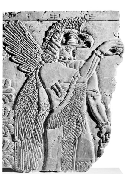 Relief of protective spirit, eagle-headed god with large wings and feathered headdress