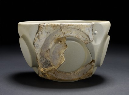 Glass bowl with circles in relief