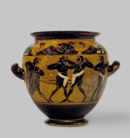 Attic black-figure pottery stamnos depicting an athletics scene