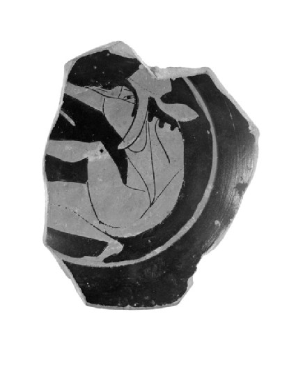 Attic red-figure pottery stemmed cup fragment