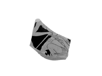 Attic red-figure pottery stemmed cup sherd depicting a scene of daily life