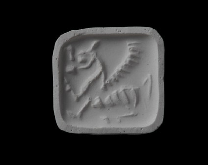 Stamp seal (Square-based loop seal in duck shape) depicting a winged bull