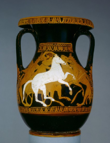 Attic red-figure Kerch style pottery pelike depicting a mythological scene