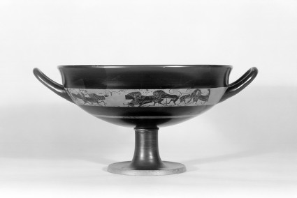Attic black-figure stemmed pottery cup