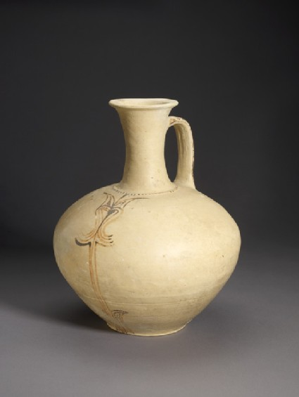 Mycenaean jug decorated with painted stylized vegetal ornament