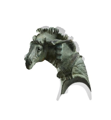 Head of a mule from a bronze fulcrum (ornamental couch-end) inlaid with silver with Greek inscription