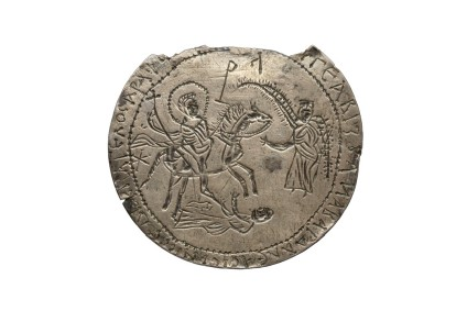 Amulet with saints and angels in combat