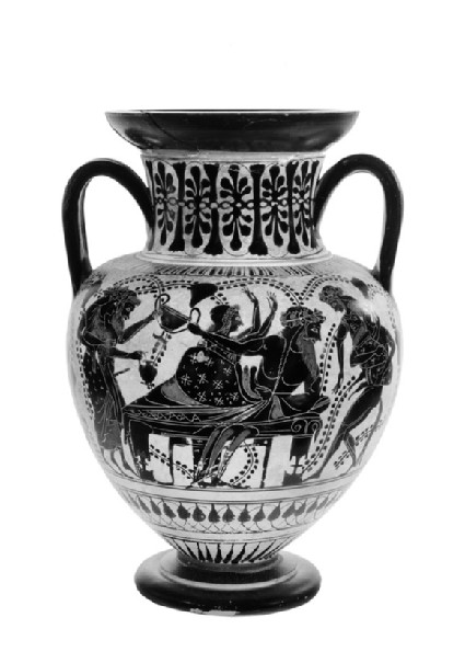 Attic black-figure pottery amphora depicting a Dionysiac scene