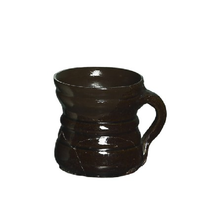 Flared redware mug, with red brown fabric and iron-brown glaze