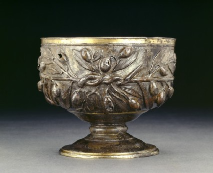 Gilded silver goblet decorated with sprays of olive, with a plain gold internal lining