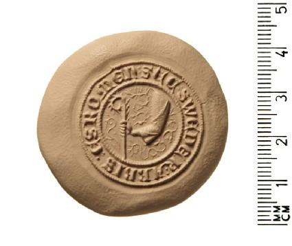 Secret seal matrix of Sweder, Abbot of Esrom, in the diocese of Roskilde, Denmark