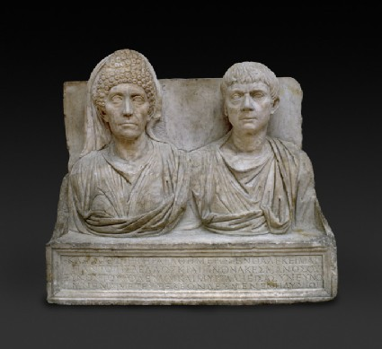 Marble tombstone of the doctor Claudius Agathemerus and his wife Myrtale