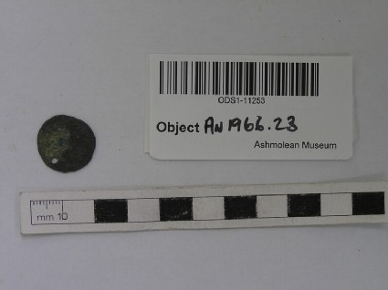 Roman bronze coin pierced for suspension