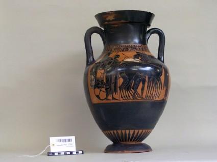 Attic black-figure pottery amphora depicting a military and a Dionysiac scene
