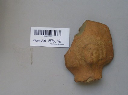 Head of woman on a sherd from a kiln at Toot Baldon, near Oxford