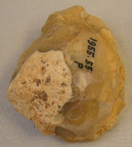 Handaxe fragment, heavily rolled