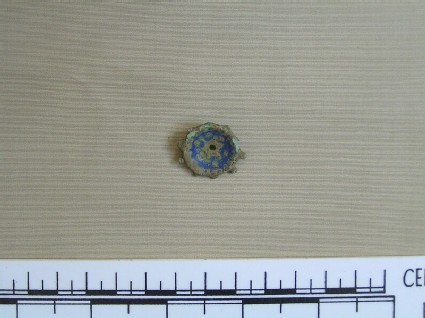Rosette brooch with bright blue enamel inlay