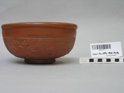 Samian ware bowl with depictions of horses, ibex, and lions
