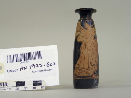 Attic red-figure pottery alabastron depicting Nike