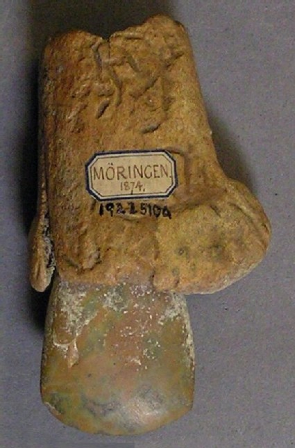 Polished stone axe, with antler socket haft