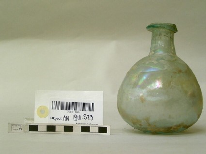 Glass bottle with round body, short neck