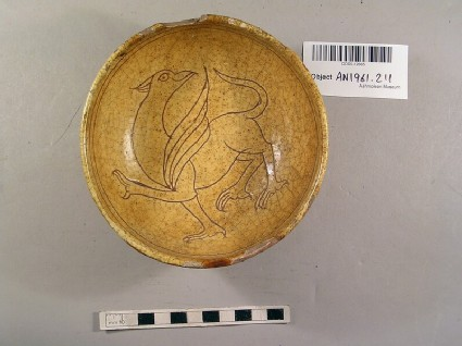 Bowl decorated in sgraffito with a griffin
