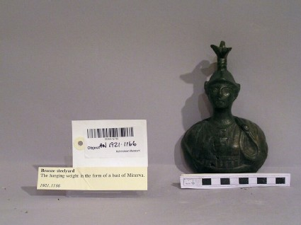 Hanging weight in the form of a bust of Minerva