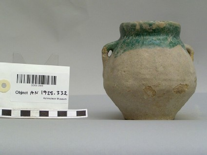 Two-handled jar with partial blue-green glaze