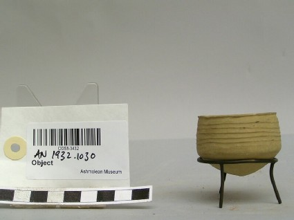 Small beaker with ridged body and rounded bottom