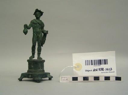 Bronze statuette of Mercury on original bronze pedestal