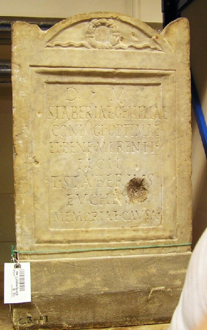 Stele with Latin inscription for STABERIA GEMELLA