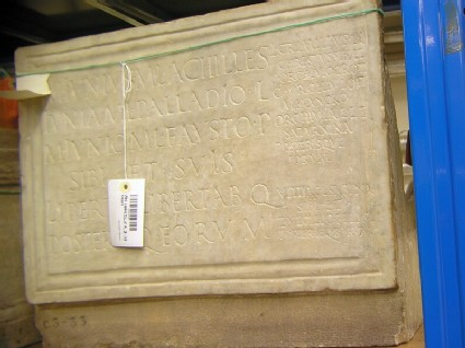 Tombstone with Latin funerary inscription for Marcus Iunius Faustus