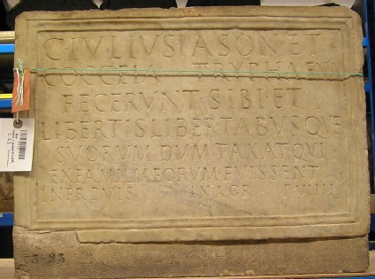 Funerary Latin inscription for Gaius Iulius Iason and family