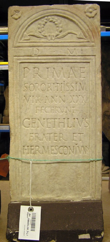 Epitaph with Latin inscription for sister of GENETHLIUS