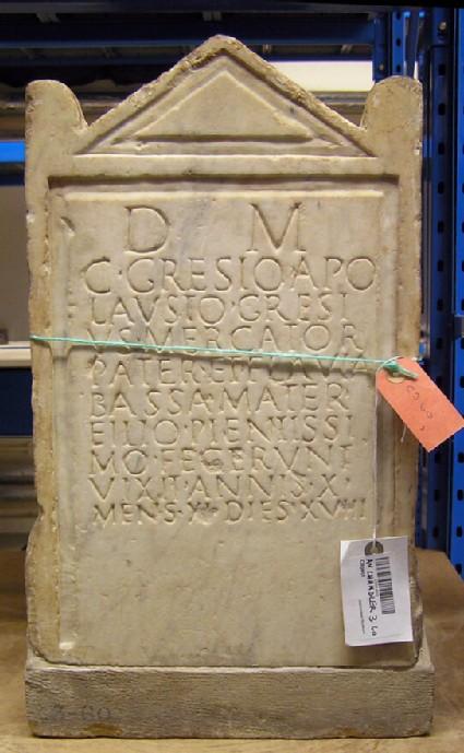 Grave stele with Latin inscription for L.GRESIUS APOLAUSTUS