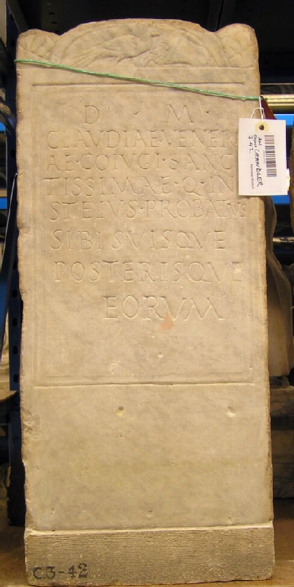 Stele with Latin inscription for CLAUDIA VENERIA