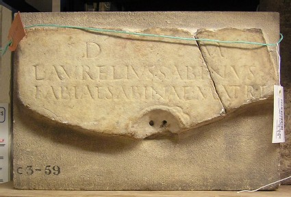 Fragment of stele with Latin inscription for FABIA SABINA