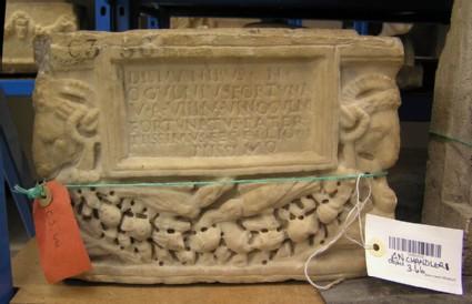 Cinerary urn with Latin inscription for Numerius Ogulnius Fortunatus
