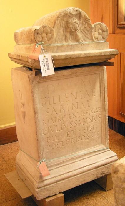 Ara with Latin inscription to Billenia Sabina