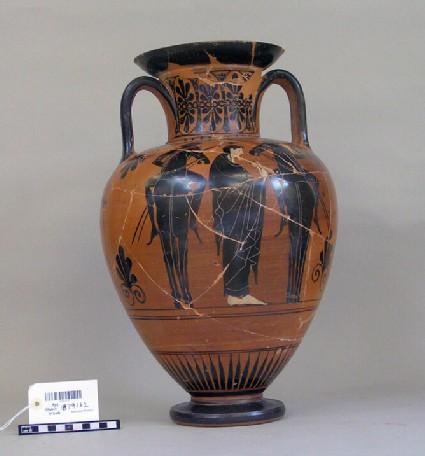 Attic black-figure pottery amphora depicting a warrior scene