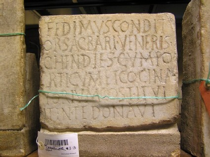 Fragment of Latin inscription to Fedimus
