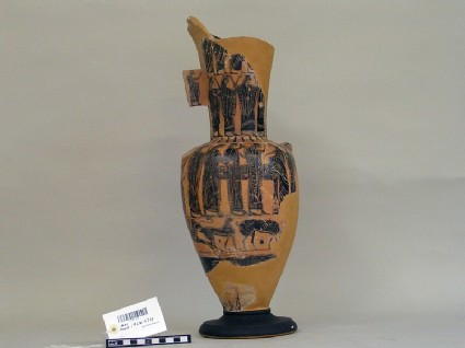 Attic black-figure pottery loutrophoros fragment