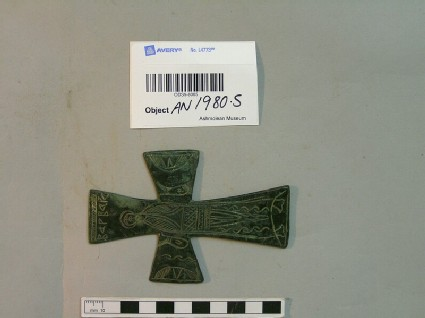 Pendant cross engraved with the figure of St. Barbara and Greek inscription