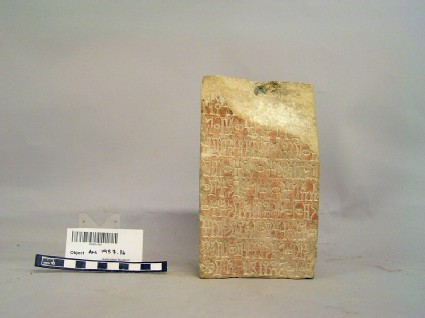 Tablet with South Arabian inscription, base of a bronze image